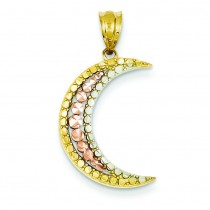 Rose Diamond Cut Moon Pendant in 14k Tri-color Gold
