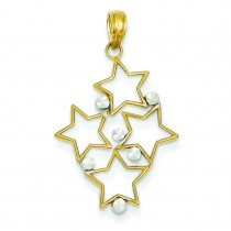 Diamond Cut Star Cluster Pendant in 14k Two-tone Gold