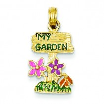 My Garden Sign Flowers Pendant in 14k Yellow Gold