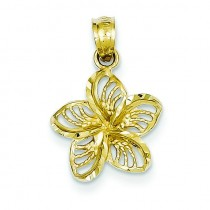 Diamond Cut Filigree Plumeria Pendant in 14k Yellow Gold