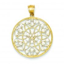 Diamond Cut Circle Pendant in 14k Yellow Gold