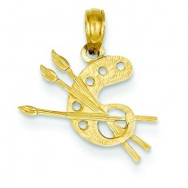 Paint Pallet Pendant in 14k Yellow Gold