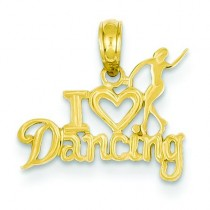 I Heart Dancing Dancer Pendant in 14k Yellow Gold