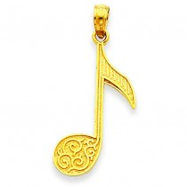 Music Note Pendant in 14k Yellow Gold