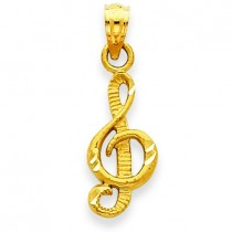 Diamond Cut Treble Clef Pendant in 14k Yellow Gold