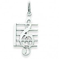 Music Note Charm in 14k White Gold