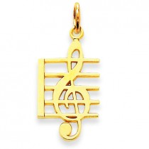 Music Note Charm in 14k Yellow Gold