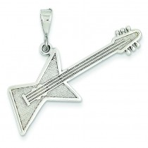 Guitar Pendant in 14k White Gold