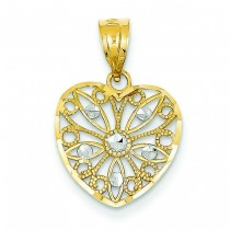 Diamond Cut Fancy Filigree Heart Pendant in 14k Yellow Gold