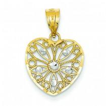 Diamond Cut Fancy Filigree Heart Pendant in 14k Yellow Gold