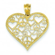Heart Peace Signs Pendant in 14k Yellow Gold