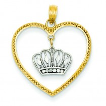 Dangling Crown Heart Pendant in 14k Yellow Gold