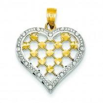 Diamond Cut Heart Pendant in 14k Yellow Gold