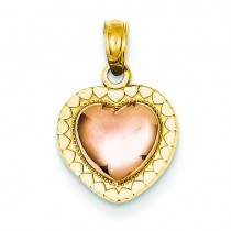 Heart Pendant in 14k Two-tone Gold