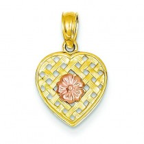 Woven Heart Pink Flower Pendant in 14k Two-tone Gold