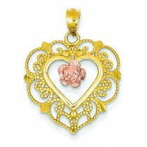Lace Trim Pink Rose Center Heart Pendant in 14k Two-tone Gold