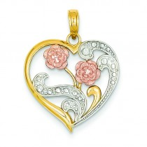Flowers On Heart Pendant in 14k Two-tone Gold