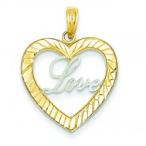 Love Inside Heart Pendant in 14k Yellow Gold