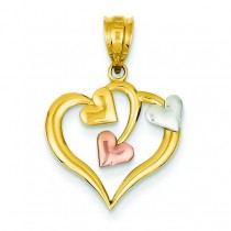 Hearts Pendant in 14k Two-tone Gold