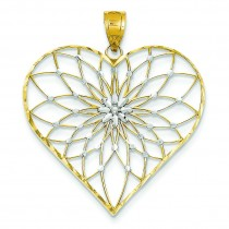 Starburst Center Heart Pendant in 14k Yellow Gold