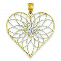 Starburst Center Heart Pendant in 14k Yellow Gold