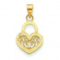 Filigree Heart Lock Pendant in 14k Yellow Gold