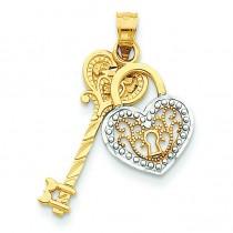 Diamond Cut Key Heart Lock Pendant in 14k Yellow Gold