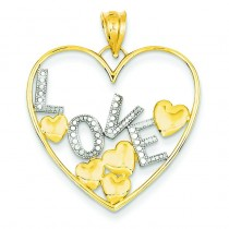 Love Floating Hearts Pendant in 14k Yellow Gold