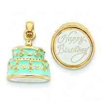 Light Blue Happy Birthday Cake Pendant in 14k Yellow Gold
