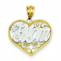 Filigree Mom Heart Pendant in 14k Yellow Gold