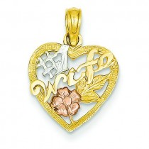 Wife In Heart Rose Pendant in 14k Two-tone Gold