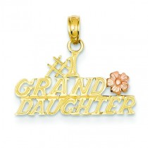 Granddaughter Flower Pendant in 14k Two-tone Gold