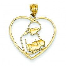 Mother Child In Heart Pendant in 14k Yellow Gold