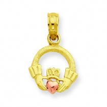 Claddagh Pendant in 14k Two-tone Gold