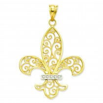 Filigree Fleur De Lis Pendant in 14k Yellow Gold