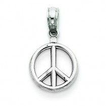 Large Peace Symbol Pendant in 14k White Gold