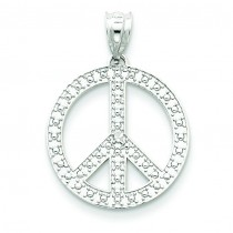 White Peace Symbol Pendant in 14k White Gold