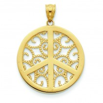 Filigree Peace Sign Pendant in 14k Yellow Gold