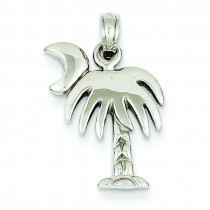 Large Charleston Palm Tree Moon Pendant in 14k White Gold