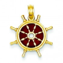 Brown Translucent Ship Wheel Pendant in 14k Yellow Gold