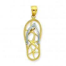 Starfish Flip Flop Pendant in 14k Two-tone Gold