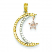 Moon Dangling Star Pendant in 14k Two-tone Gold