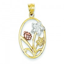 Diamond Cut Oval Floral Pendant in 14k Two-tone Gold