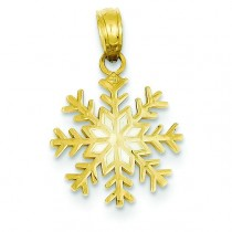 White Snowflake Pendant in 14k Yellow Gold