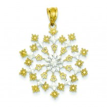 Diamond Cut Starburst Snowflake Pendant in 14k Yellow Gold