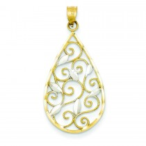 Diamond Cut Teardrop Pendant in 14k Yellow Gold
