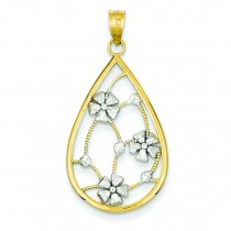 Flowers In Teardrop Pendant in 14k Yellow Gold