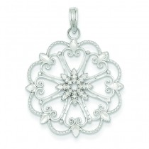 Diamond Cut Starburst Pendant in 14k White Gold