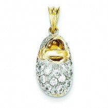 CZ Baby Shoe Charm in 14k Yellow Gold