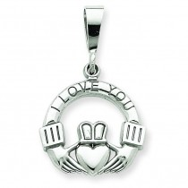 I Love You Claddagh Charm in 14k White Gold